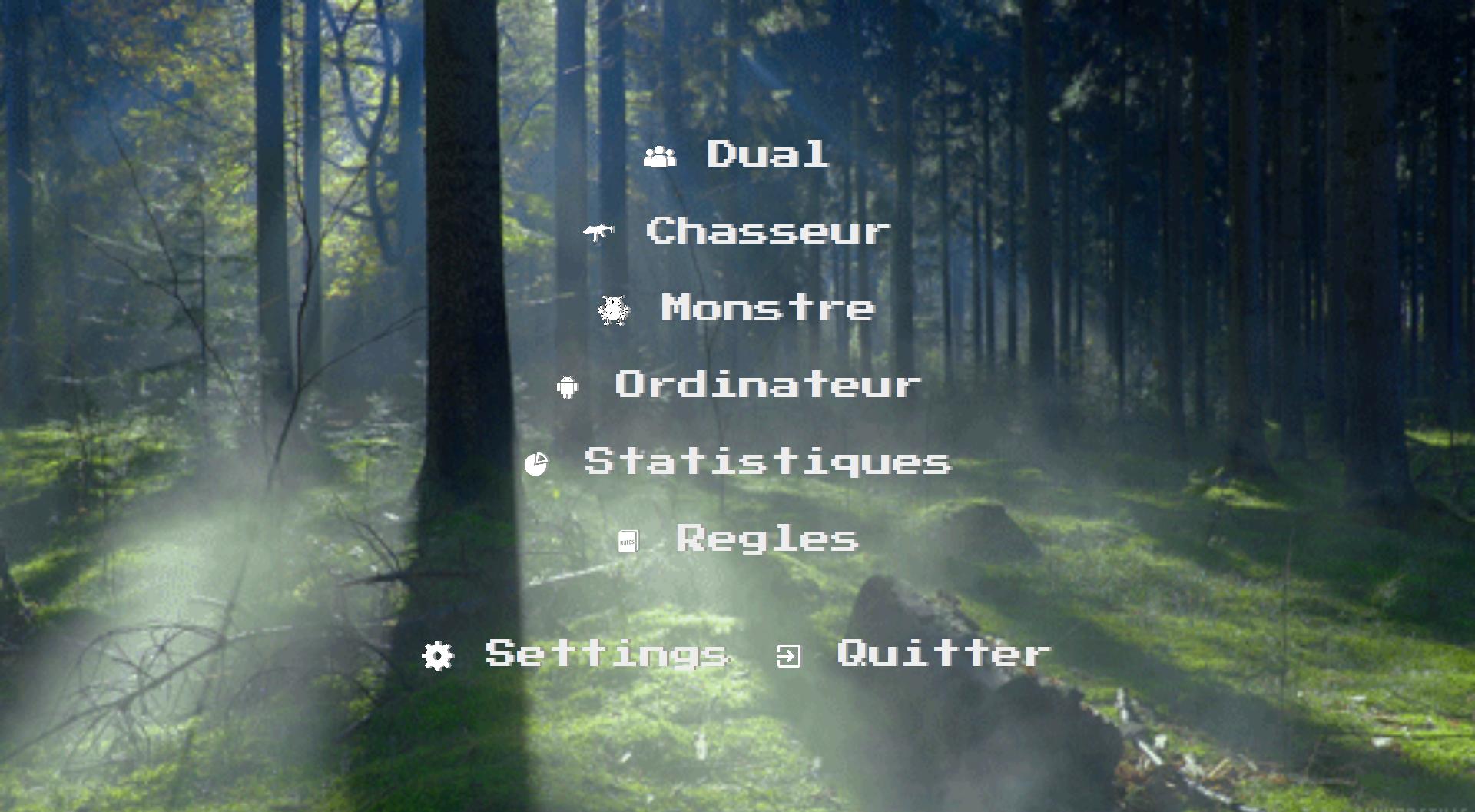 Accueil jeu chasse au monstre