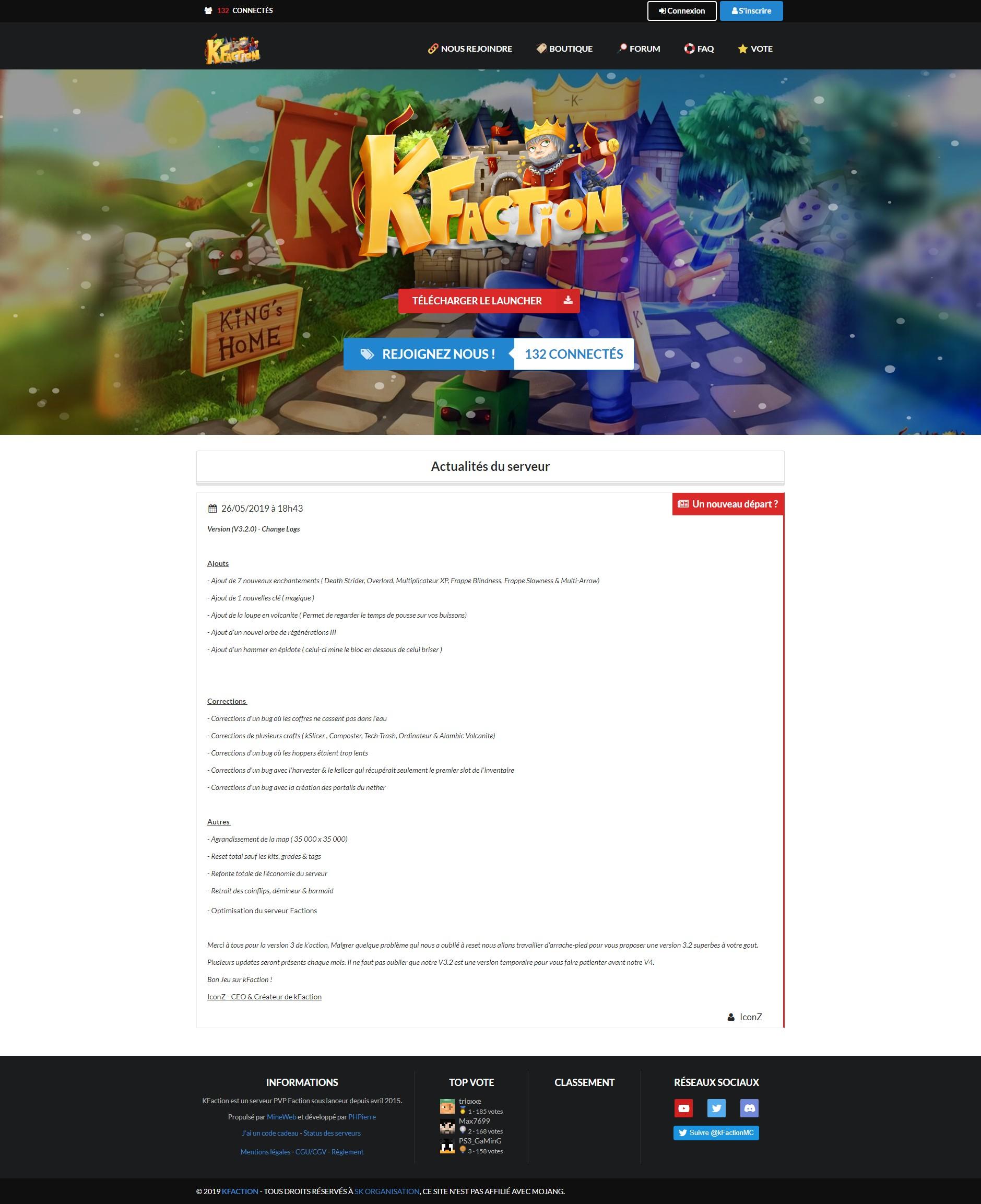 Aperçu du site KFaction
